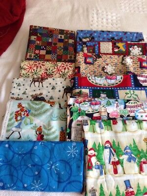 Large Lot Of 11 Different Print Holiday Fabrics 5+ Yards