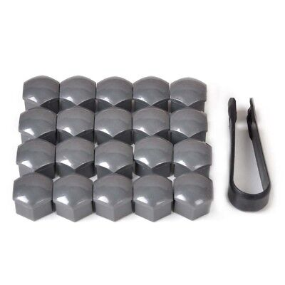 Wheel Lug Nut Bolt Center Cover Gray Caps & Tool for VW Audi Skoda 20pcs 17mm