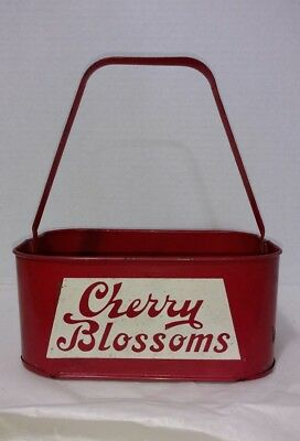 Antique Mullen's Cherry Blossoms Soda Metal Bottle Carrier