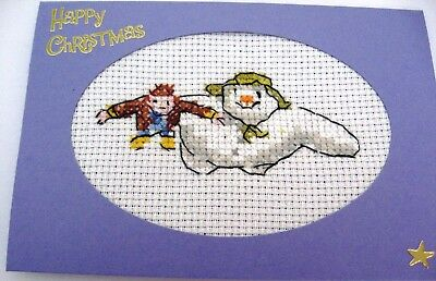 Christmas Card Completed Cross Stitch The Snowman 6x4""
