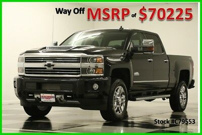 2017 Chevrolet Silverado 2500 HD MSRP$70225 4X4 High Country Diesel Sunroof Crew New 2500HD Duramax GPS Navigation Heated Cooled Leather Seats Black Cab 4WD 6.6L