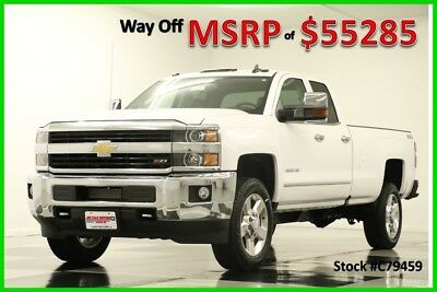 2017 Chevrolet Silverado 2500 HD MSRP$55285 4X4 GPS LTZ White Double 4WD New 2500HD Heated Cooled Leather Navigation 17 Ext Extended Cab 6.0L V8 Mylink