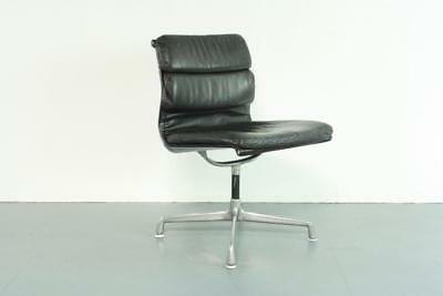 Vintage Eames Herman Miller Black Leather Soft Pad Group Chair #2066