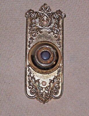 Antique Solid Cast Bronze Art Nouveau Door Bell, Bakelite Button, Polished