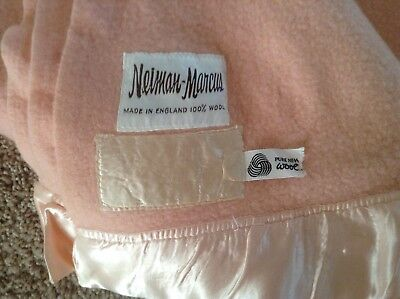 Vintage WOOL BLANKET NEIMAN MARCUS Peach Color Made In England Free Shipping