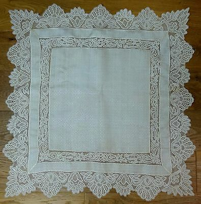 Stunning Silk Lace Table Centre Tablecloth Handmade Antique Square Trim Wedding