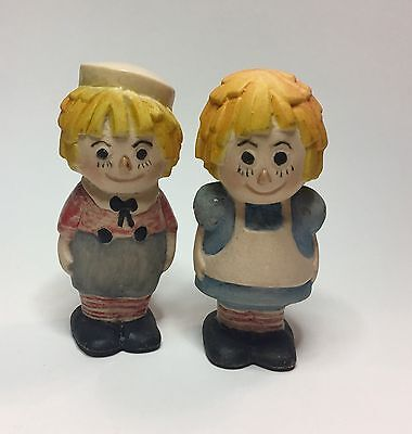 """Vintage Raggedy Ann & Andy Collectible Ceramic Figurines - Hong Kong 3"""""""