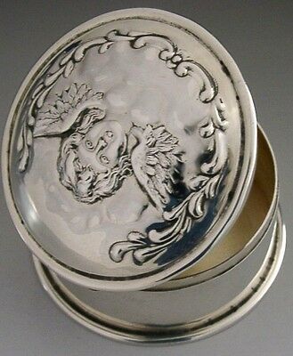 Beautiful Sterling Silver Embossed Cherub Trinket Jewellery Box 1902 Antique