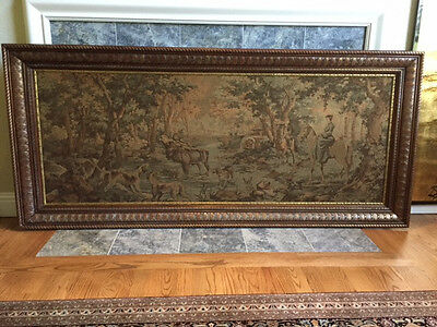 Large Antique French Tapestry Hunt Scene