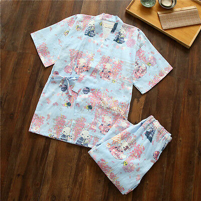 Sky Blue Chinese Japanese Cats Ladies Short Kimono Pyjamas Pajamas Set ladpj111