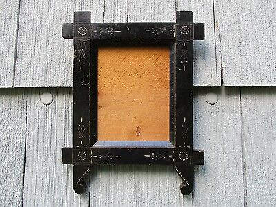 Antique Eastlake Ebonized Carved Picture Frame with Glass fits 7 x 9