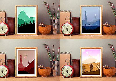 Lord Of The Rings & The Hobbit Inspired Art Prints 4 Minimalist Designs LOTR Art