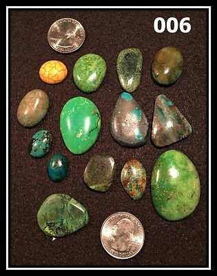 Turquoise and Chrysocolla Cabochons in various, 62 gm, Various Shapes and Sizes