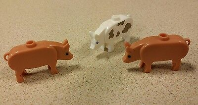 Lot of 3 Custom LEGO PIGS white farm animals, livestock, castle, LOTR, Hobbit