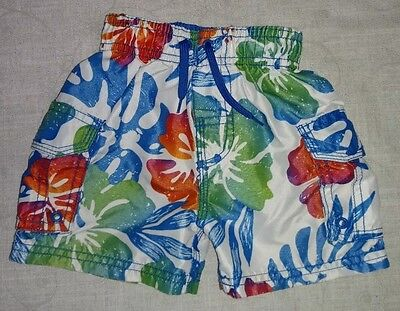 Children's Place 6-9 month boys swimming trunks shorts swim suit hawaiian floral