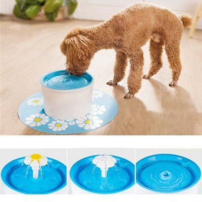 Automatic Pet Cat Dog Flower Water Drinking Filter Fountain Dish Bowl With Mat