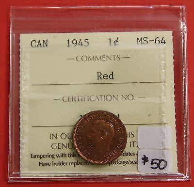 1945 Canada One Cent Penny Coin B315 - $50 ICCS MS-64 Red