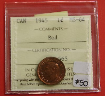 1945 Canada One Cent Penny Coin B317 - $50 ICCS MS-64 Red