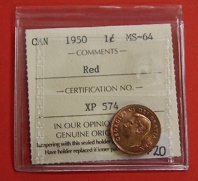 1950 Canada One Cent Penny Coin B320 - $20 ICCS MS-64 Red
