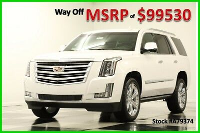 2017 Cadillac Escalade MSRP$99530 4WD Platinum DVD Sunroof GPS White 4X4 New Crystal Tricoat Heated Cooled Black Leather Chairs 22 Inch Chrome Wheels SUV