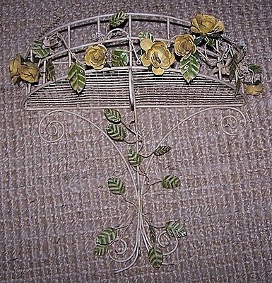 """Vintage Metal Toleware Yellow Roses Wall Basket Demilune Wall Hanging 18"""" x 18"""""""