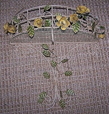 "Vintage Metal Toleware Yellow Roses Wall Basket Demilune Wall Hanging 18"" x 18"""