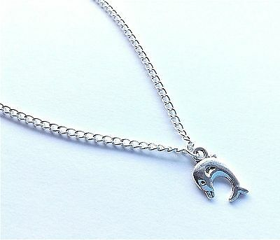 Silver Curb Chain With Dolphin Charm Dangle Anklet / Ankle Bracelet
