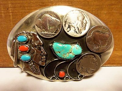 Old Pawn Buffalo Nickel Indian Head Belt Buckle Sterling, Turquoise & Red Coral