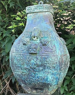Very Rare Ancient Bronze Han Dynasty Vessel With Lid 200 B.C. (Very Large)