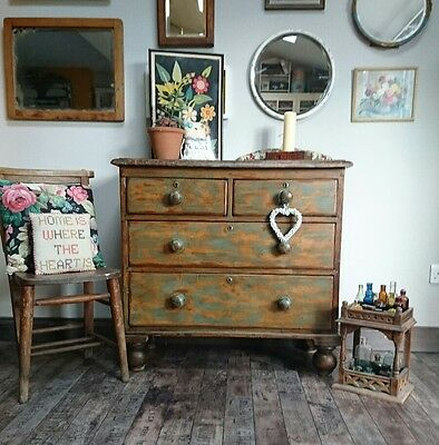 Antique Vintage Victorian Pine Chest of Drawers 2 over 2 industrial farmhouse!!!