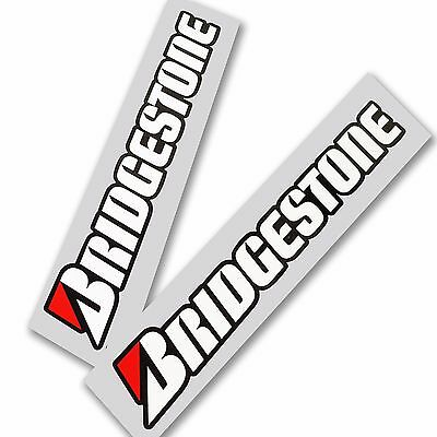 BRIDGESTONE motorcycle decals custom graphics stickers x 2 pieces wht blk