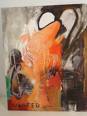 """Original 20"""" X 16""""  Oil Painting  Abstract """"industrial""""  Rcb"""