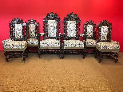 8 Magnificent Victorian, Charles Ii Style Oak Chairs Pro French Polished