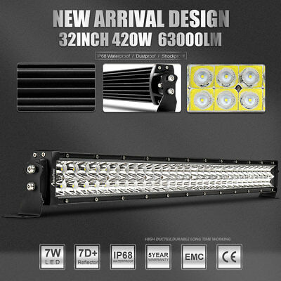 7D+ 32Inch 420W LED Work Light Bar FIT FOR For Wrangler Offroad Truck 4WD AWD 30