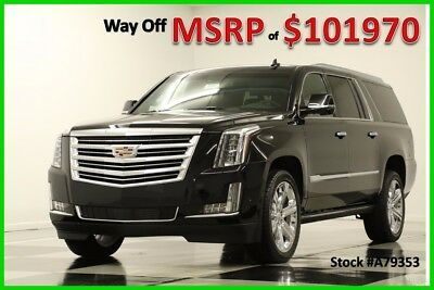 2017 Cadillac Escalade MSRP$101970 4X4 ESV Platinum 3 DVD Sunroof Black New GPS Navigation Heated Cooled Leather 16 2016 17 4WD 7 Seats 22 In Chrome Rim
