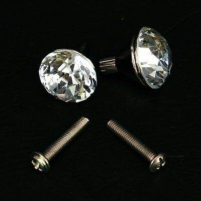 2x Zinc Alloy Small Crystal Drawer Knob Pull Handle T6D8