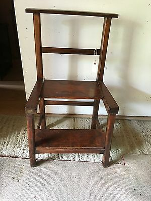 Antique style ladder chair in dark polished wood