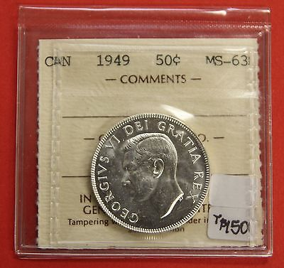 1949 Canada 50 Cent Silver Coin Fifty Half Dollar B523 - $150 ICCS MS-63