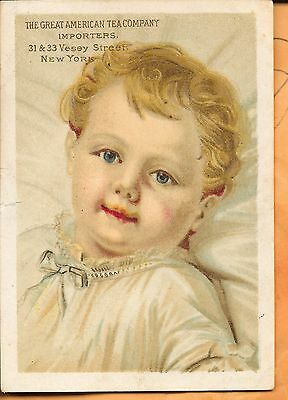 Vintage Victorian Trade Card-Great American Tea Company-Beautiful Child-New York