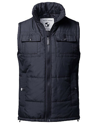 FashionOutfit Men's Solid Front Zip Up Outdoor Padded Vest Outwear Jacket