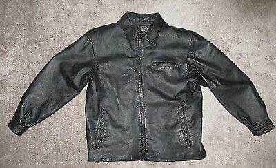 Soft Black Leather Jacket Men's L Zipper and Stand Up Collar