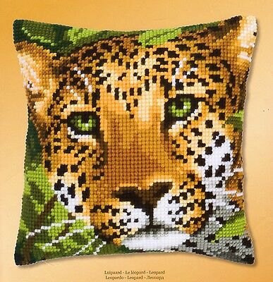 Leopard Portrait Tapestry Canvas Cross Stitch Cushion Front Kit Vervaco