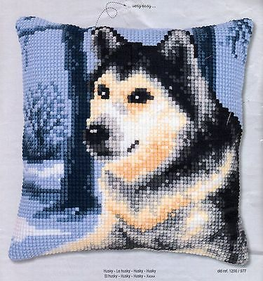Le Husky Tapestry Canvas Cross Stitch Cushion Front Kit Vervaco