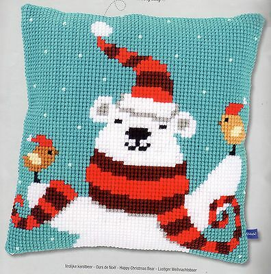 Happy Christmas Bear Tapestry Canvas Cross Stitch Cushion Front Kit Vervaco