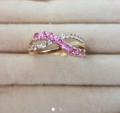 9ct Yellow Gold Created Pink Sapphire and Diamond Ring Size P 1/2 As New