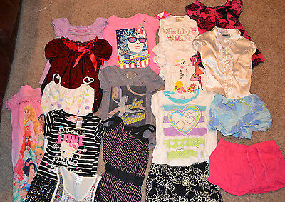 lot of 17 girl child clothes size 5-6 , shirts, shorts