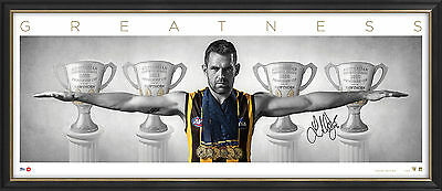 Luke Hodge Signed Wings Hawthorn AFL Print Framed inc Premiership Cups 300 Games