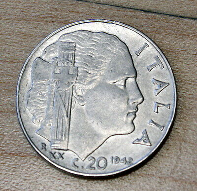 1942 Italy 20 Centesimi Stainless Steel Reeded Edge WWII Coin