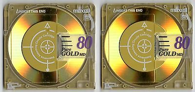 Two (x2) Maxell 'Pure Gold'  80 minute MiniDiscs with cases        Free AusPost
