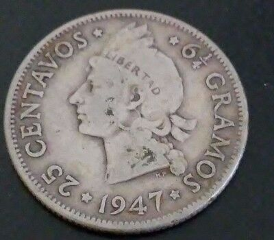 1947 Dominican Republic 25 Centavos Silver As Found